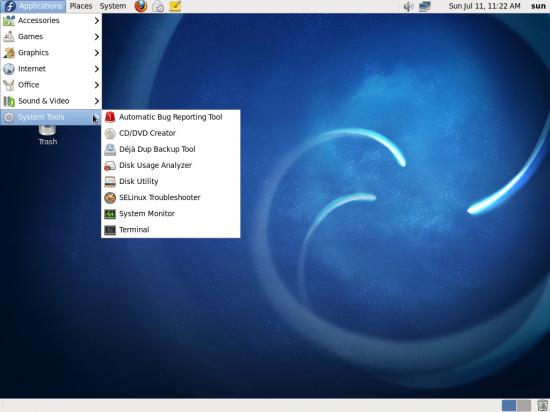 Desktop menu