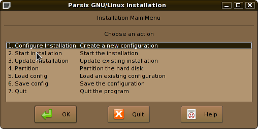 Main installation window
