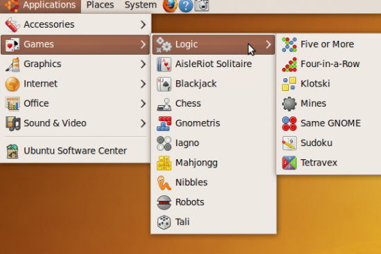 Ubunt'su menu showing games
