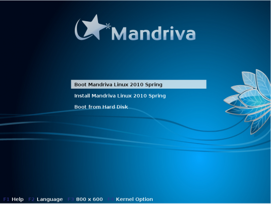 Mandriva boot options