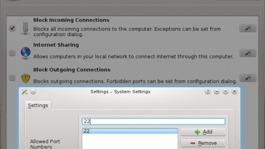 Pardus 2011.2 Firewall Manager