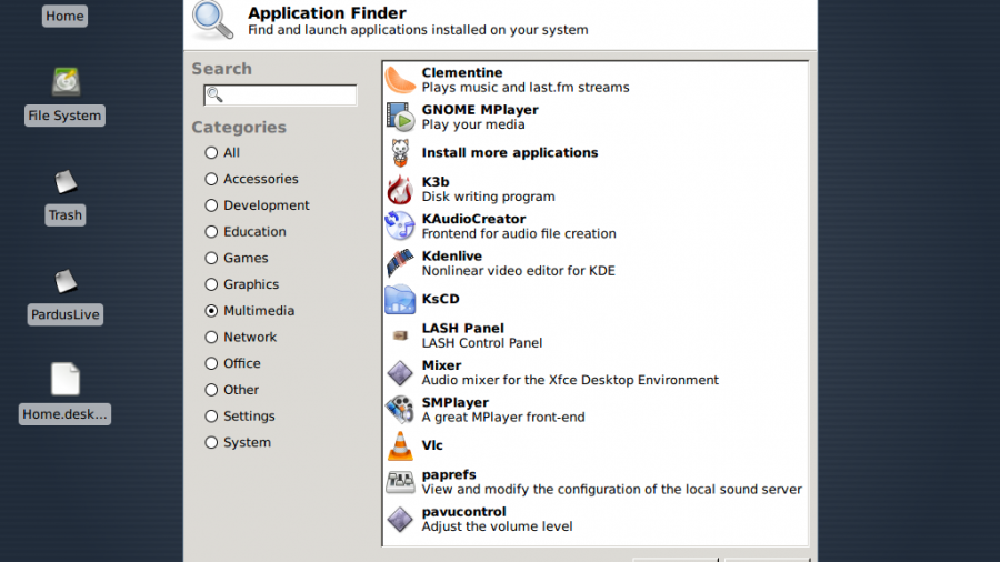 Xfce's Application Finder in Pardus 2011.2