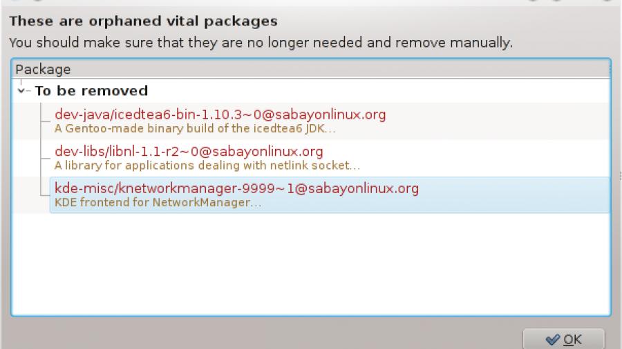 Sabayon 7 KDE Orphaned Packages