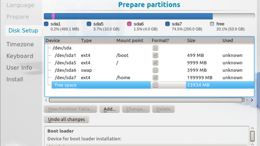 Linux Mint 12 KDE Partition Finished