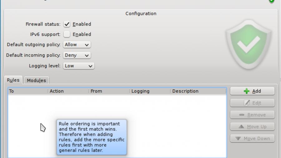 Sabayon 8 KDE Firewall