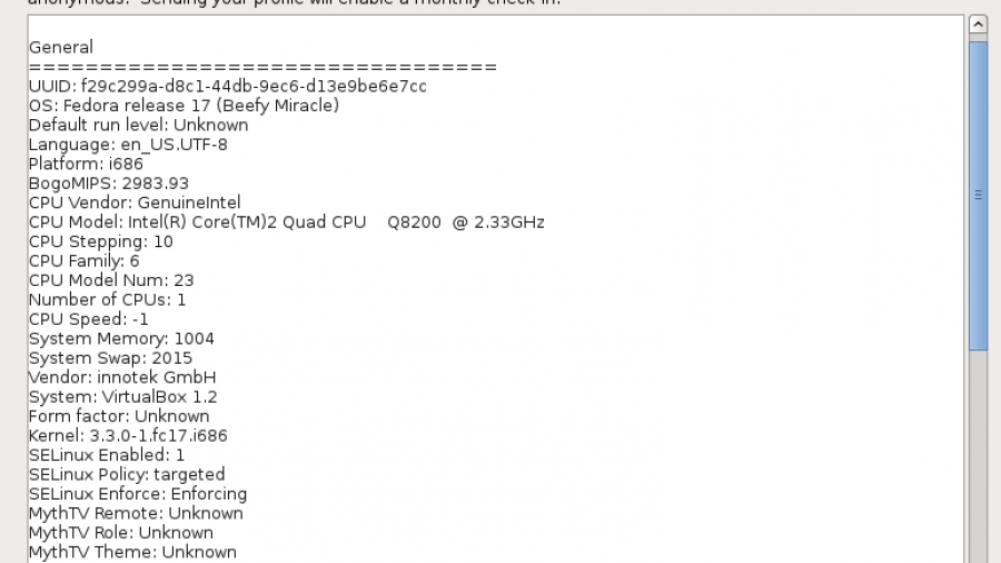 Smolt Hardware Profile