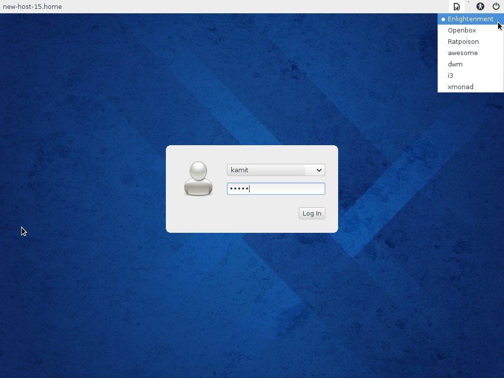 Fedora 20 E17 login screen