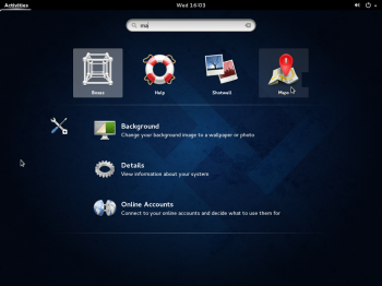 Using the search feature of the GNOME shell on a Fedora 20 GNOME 3 desktop.