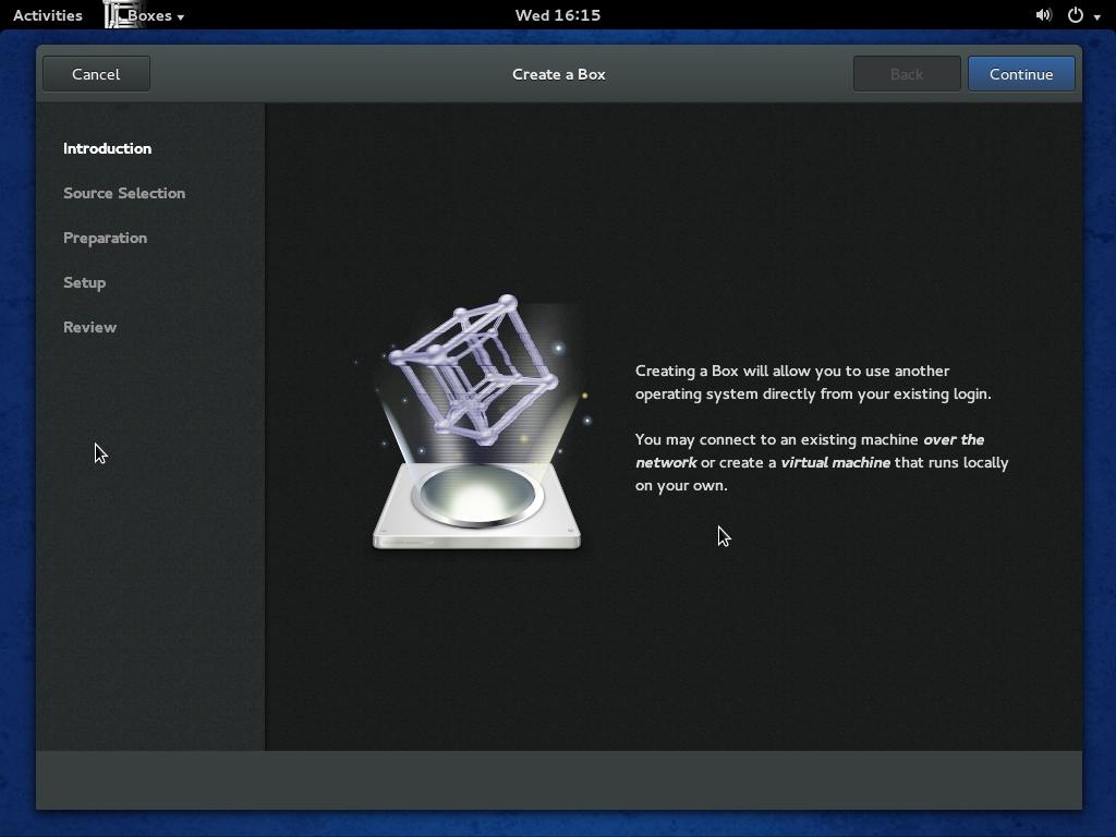 Fedora 20 GNOME Boxes