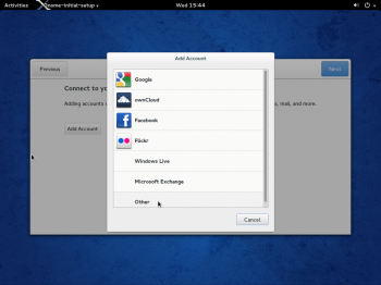 The first window you see on logging into the GNOME 3 desktop on Fedora 20, is of the welcome app that's supposed to help you customize aspects of the desktop. However, it doesn't help you do very much. Setting up online accounts is its best feature.