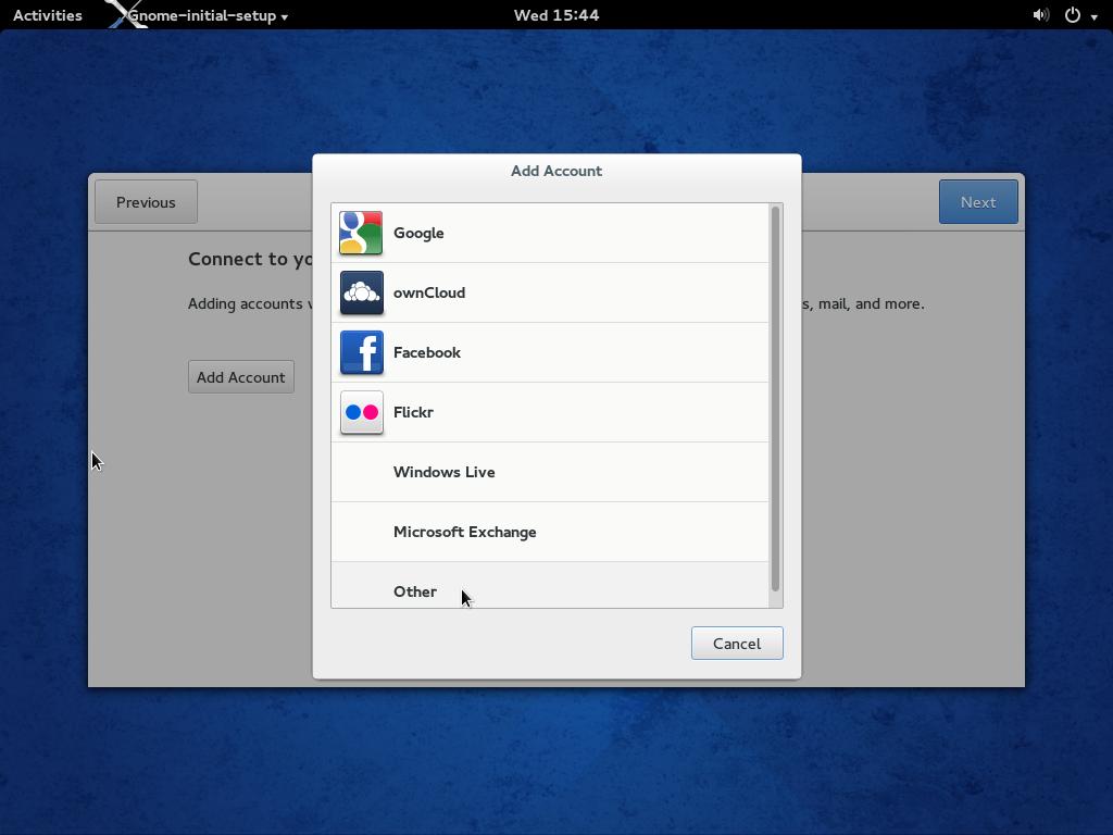 Fedora 20 GNOME 3 Welcome app