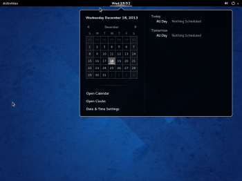 The default desktop on Fedora 20 GNOME 3. What you get is a GNOME Shell in its default configuration.