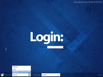 Fedora 20 LXDE login screen