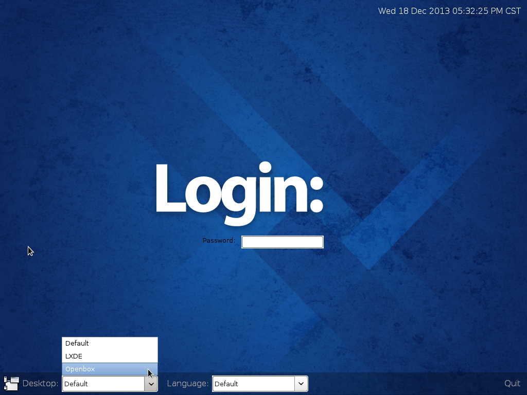 Fedora 20 LXDE login screen