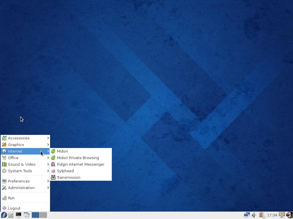 Fedora 20 LXDE desktop menu
