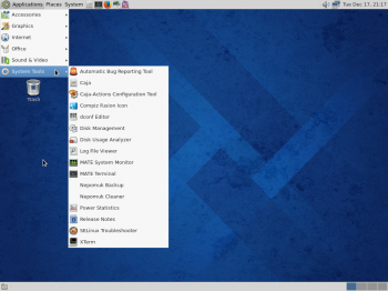 Fedora 20 MATE desktop menu