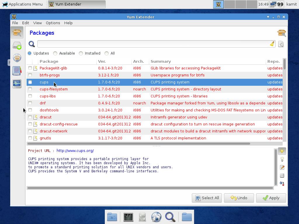 Fedora 20 Xfce Yum Extender