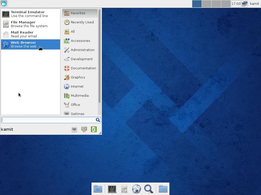 Fedora 20 Xfce Whisker menu