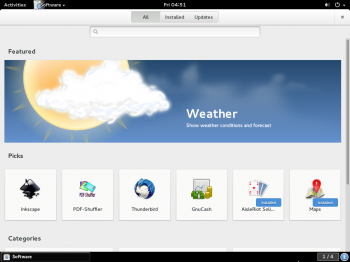 Top section of Home page of GNOME Software running on Fedora Rawhide. The lower section is shown in the next slide.