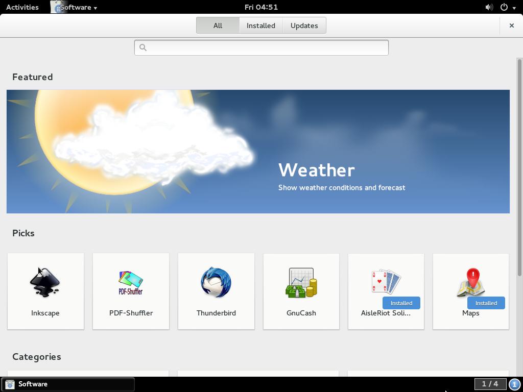 GNOME Software Fedora Rawhide