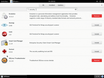 Shows the result of searching for an app on GNOME Software. Live search has not been implemented yet.