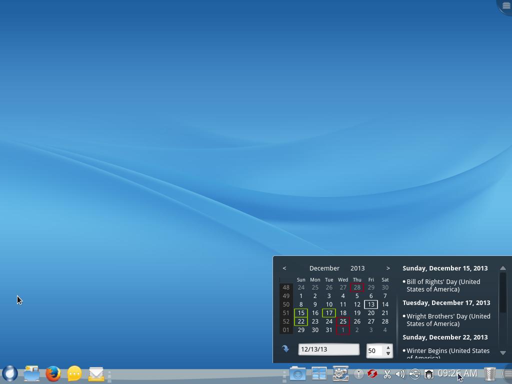 ROSA Desktop Fresh R2 calendar