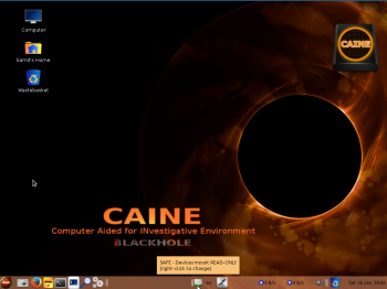The default desktop of CAINE 5, aka Blackhole. If you ask me, that's a beautiful desktop background. For the record, MATE is the desktop environment on CAINE 5.