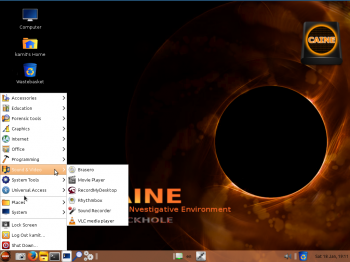 """The desktop of CAINE 5 showing the installed applications in the """"Sound & Video"""" menu category."""