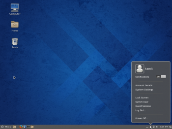 The Cinnamon desktop showing the user profile.