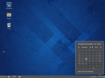 The Cinnamon desktop showing the panel calendar.