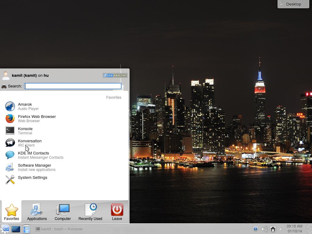 Linux Mint 16 KDE Kickoff menu