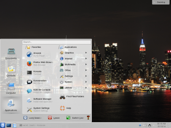 The Lancelot menu is another style of menu available for the KDE desktop. It is similar to the menu style on the Cinnamon desktop.