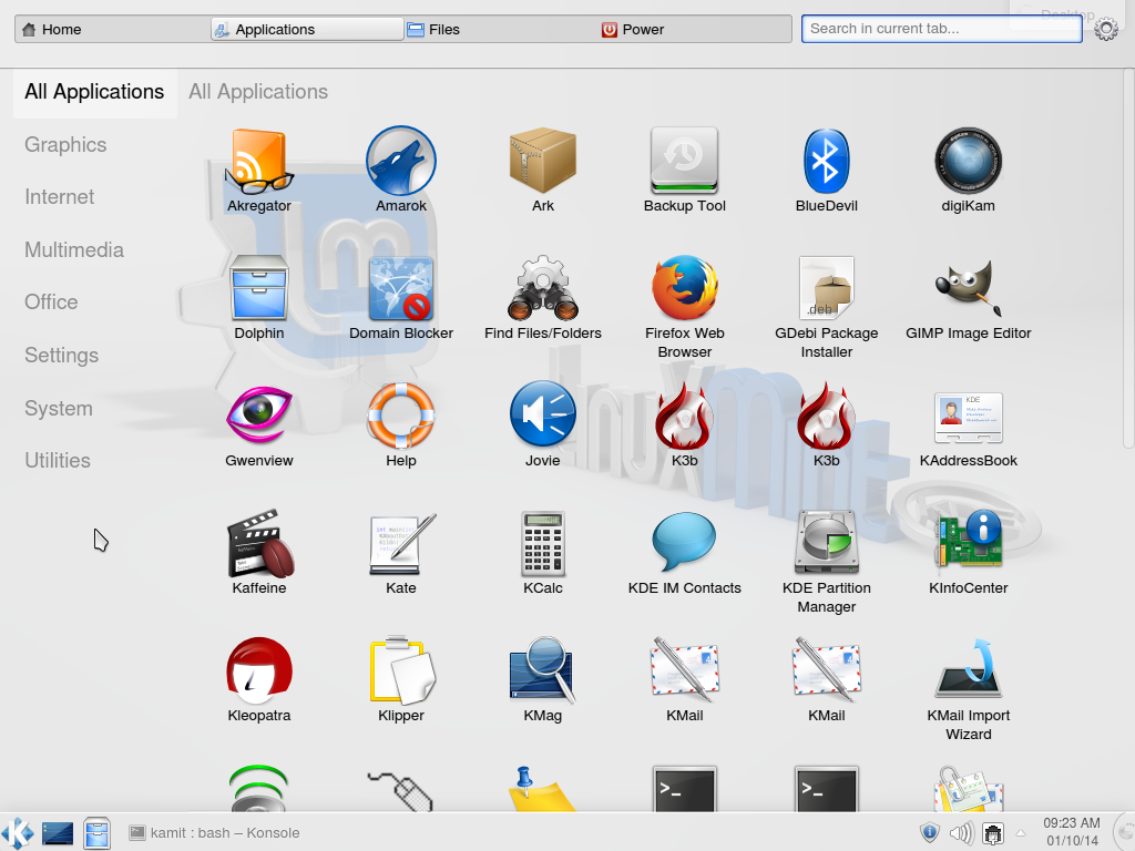 Linux Mint 16 KDE Homerun menu