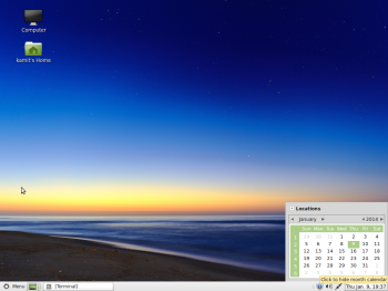 Linux Mint MATE desktop showing the panel calendar. As with the screen shots in the KDE and Cinnamon desktops, this is not the default wallpaper.