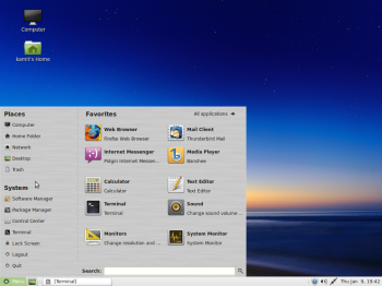 Linux Mint 16 MATE menu