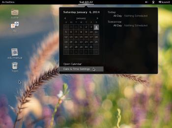 The GNOME 3 desktop on Siduction 2013.2 showing the desktop calendar.
