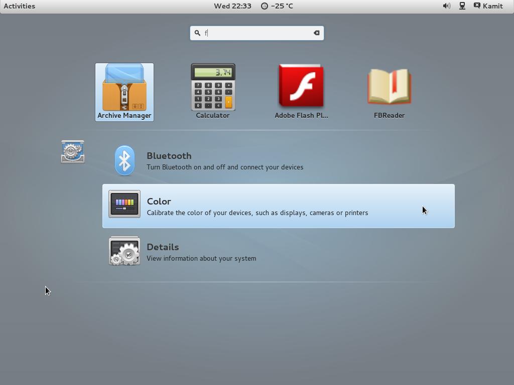 GNOME 3 on ROSA Desktop Fresh R2