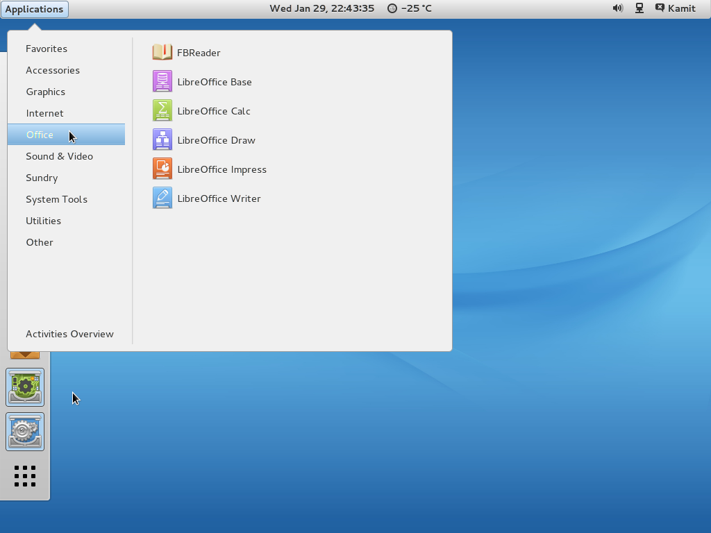 GNOME 3 on ROSA Desktop Fresh R2