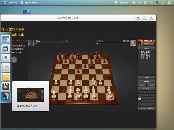 Linpus Lite 2.1 spark chess web game