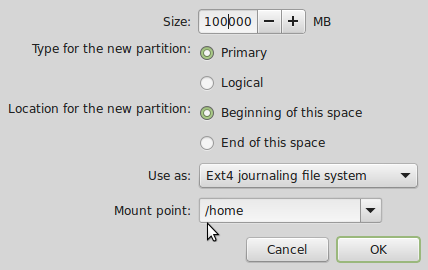 how to create a linux partition on windows 7