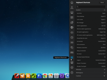 All the shortcuts are available from the Deepin 2014 Control Center
