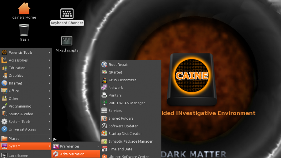 CAINE 6 system admin apps