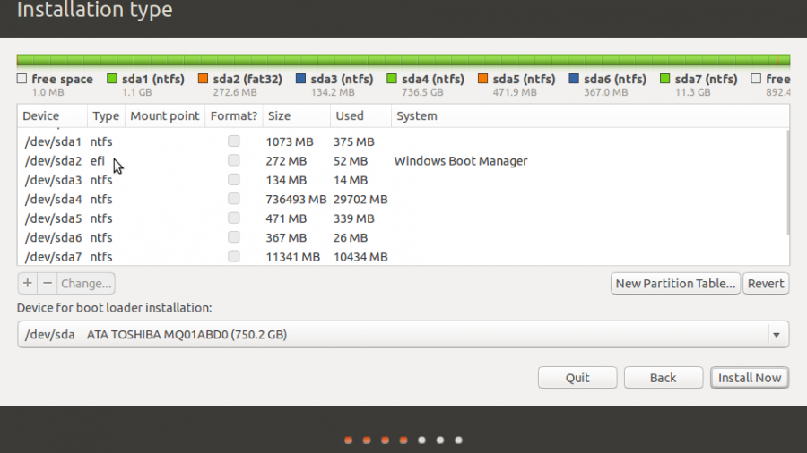 Ubuntu 14.10 GPT partitions