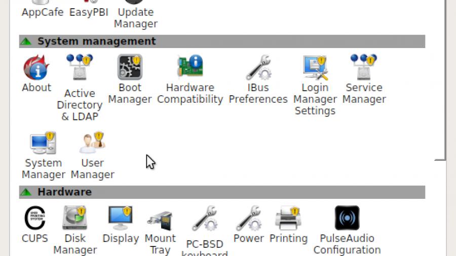 Figure : PC-BCD Control Center on PC-BSD 10.1.1