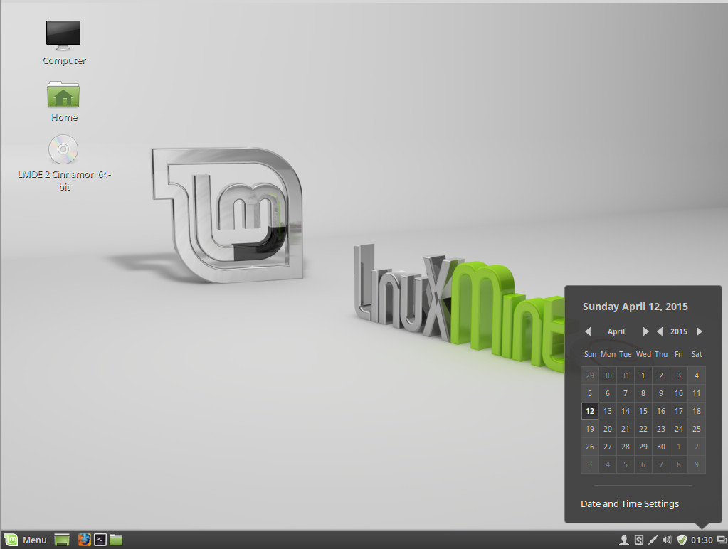Figure 8: Default Cinnamon desktop of Linux Mint Debian Edition 2 Cinnamon showing the panel calendar