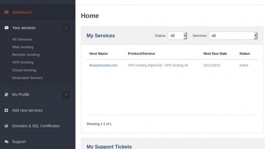 Host1Plus account Dashboard