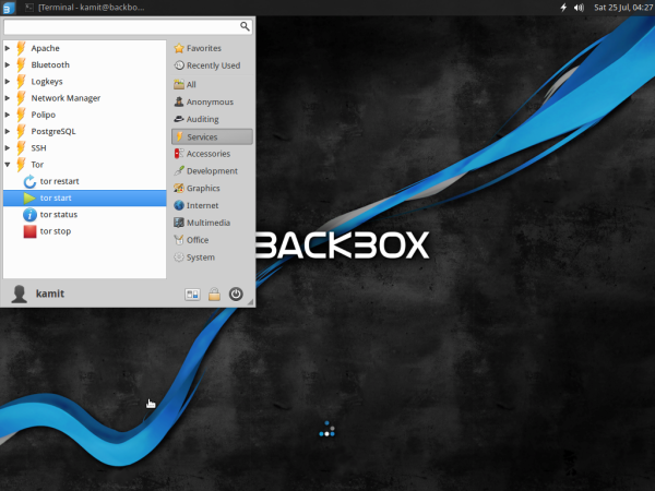 BackBox 4.3 start Tor service