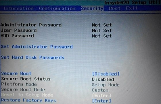 Secure Boot disabled Lenovo G50