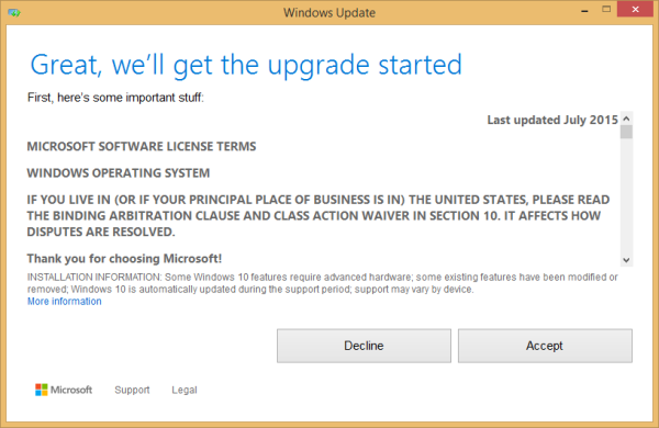 Starting Windows 10 upgrade