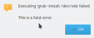 Figure 3: GRUB-Install error on Kubuntu 15.04 while attempting to  dual-boot with Windows 10